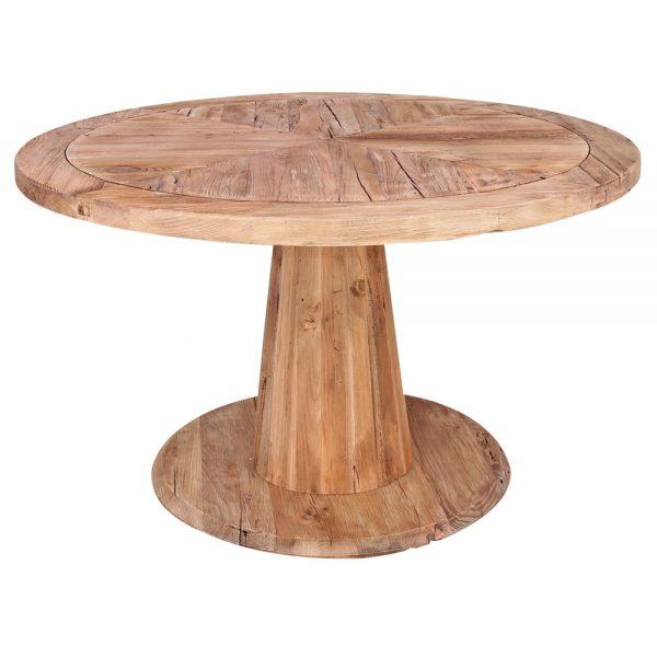 mesa redonda comedor madera natural