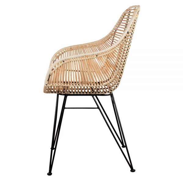 silla con asiento rattan y patas negras
