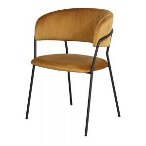 silla tapizada terciopelo amarillo mostaza patas negras