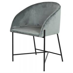 silla tapizada terciopelo azul patas negras