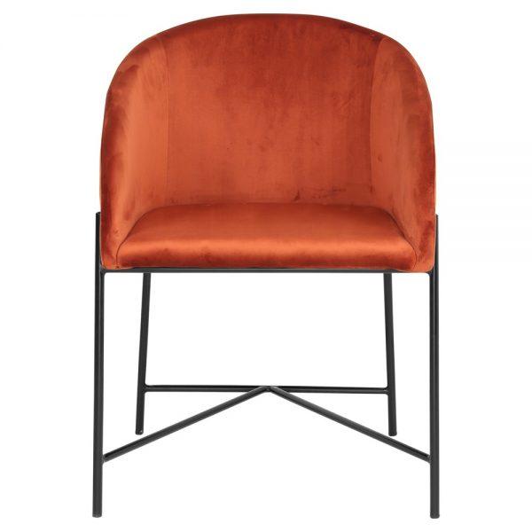 silla terciopelo terracota patas negras
