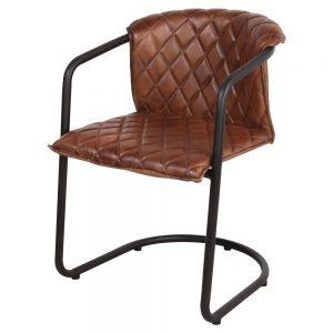 silla industrial asiento piel patas negras