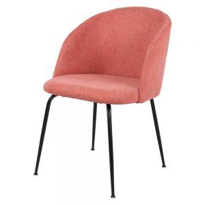 silla tapizada color coral patas negras