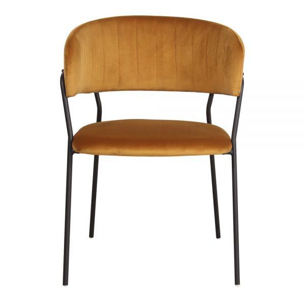 silla tapizada color amarillo patas negras
