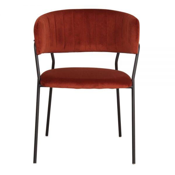 silla tapizada color terracota patas negras metal
