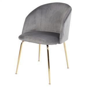 silla tapizada gris patas doradas