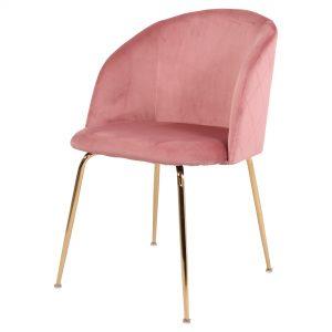 silla terciopelo rosa patas doradas