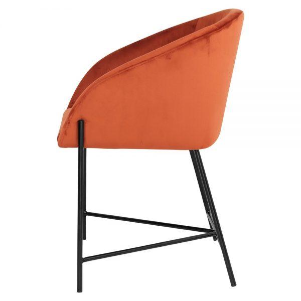 silla tapizada terciopelo rojo patas negras