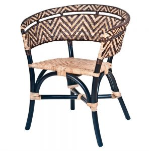 silla de bambú negro y asiento rattan