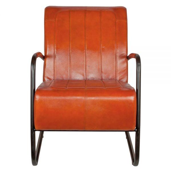 sillón asiento tapizado cuero marrón patas negras