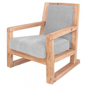 sillón madera tapizado gris