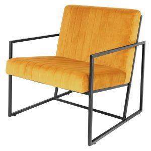 sillón terciopelo mostaza patas negras