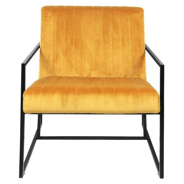 sillón tapizado amarillo patas negras