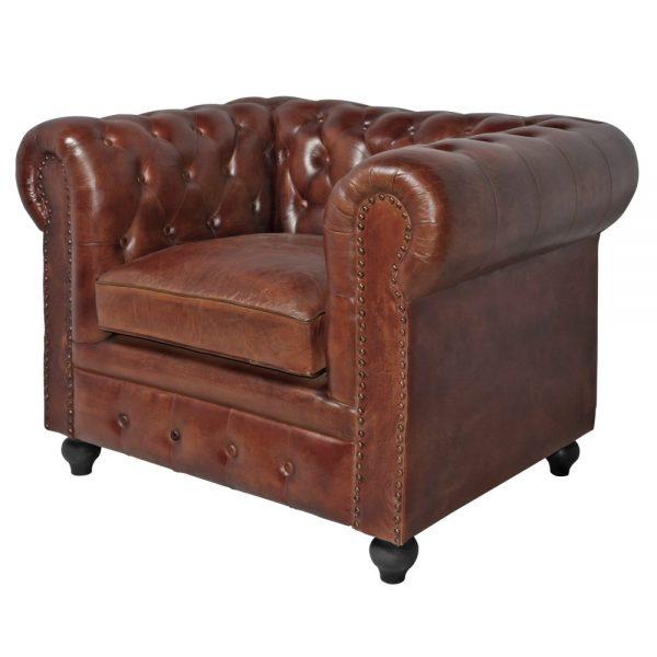 sofá chester 1 plaza piel marrón