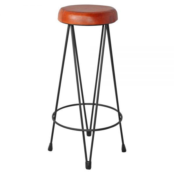 taburete estilo industrial asiento cuero patas negras