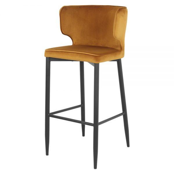 taburete asiento tapizado amarillo patas negras