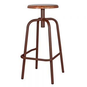 taburete bar industrial color óxido asiento madera