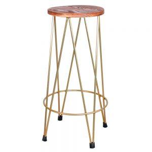 taburete patas metal dorado asiento madera