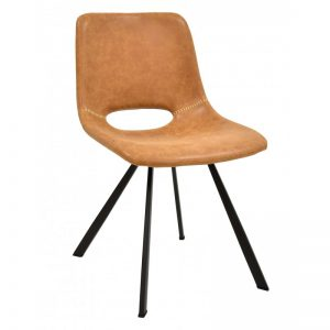 silla comedor tapizada polipiel marrón claro patas negras