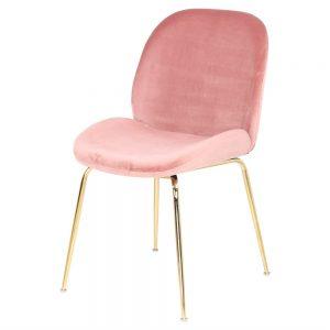 silla comedor tapizada color rosa y patas metal dorado
