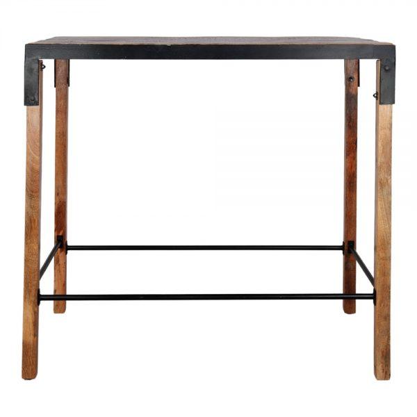 mesa alta industrial madera maciza con detalles en hierro