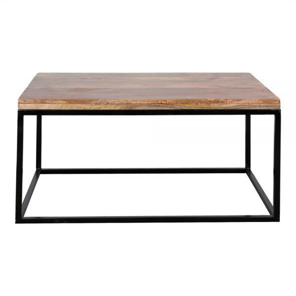mesa centro tapa madera y pata metal negra