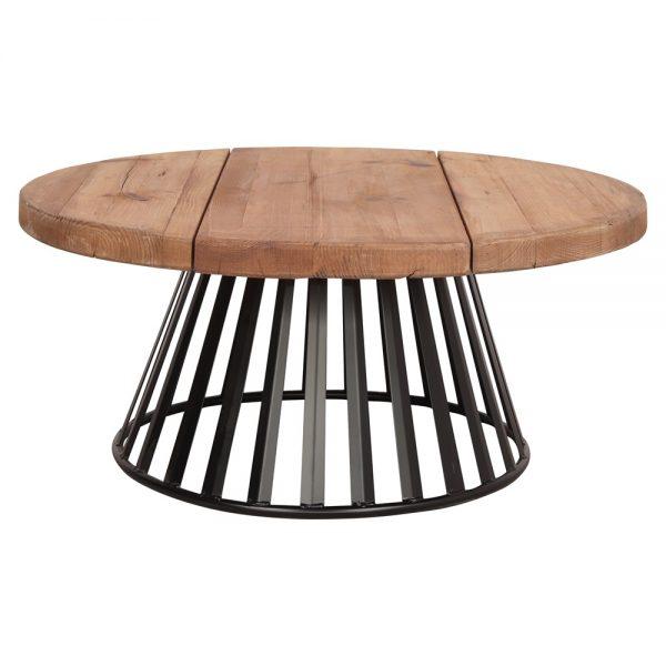 mesa centro redonda con tapa madera pata metalica negra