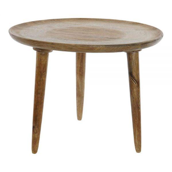 mesa centro redonda madera con tres patas madera