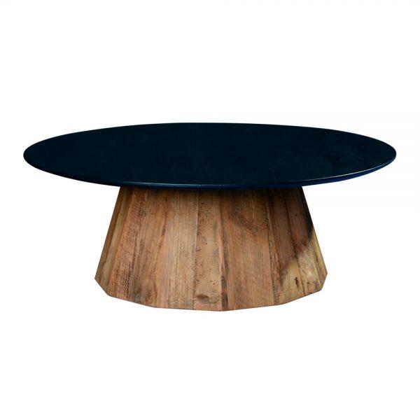 mesa centro redonda tapa negra y pié en madera maciza