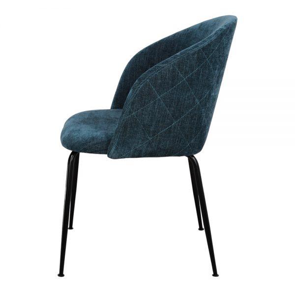 silla con asiento tapizado azul y patas negras