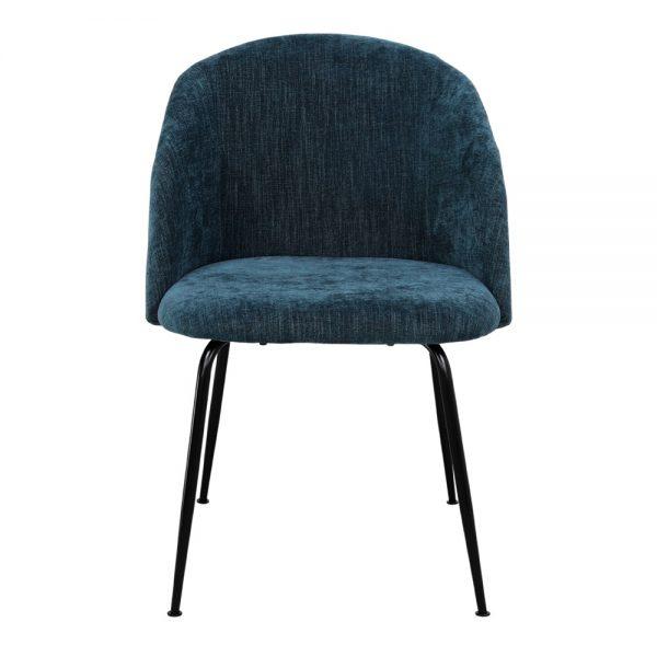 silla tapizada azul con patas metálicas negras