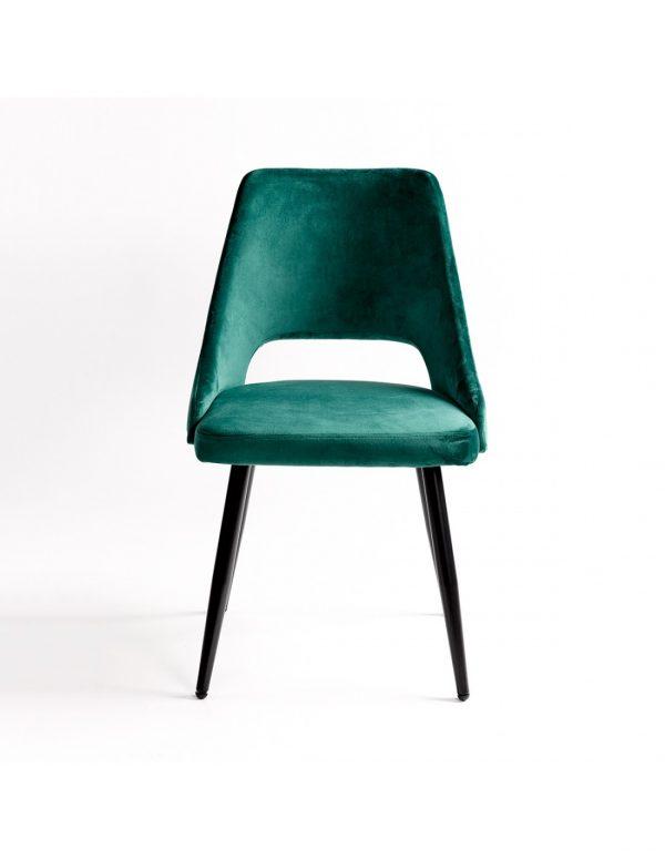 silla terciopelo verde patas metal negras