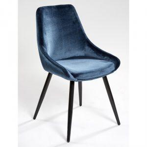 silla tapizada terciopelo azul con patas negras