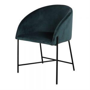 silla tapizada azul petróleo patas negras