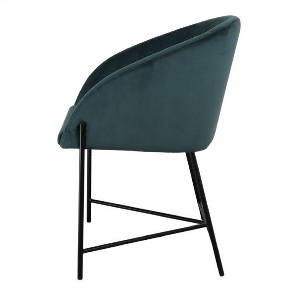silla con asiento azul tapizado con patas negras