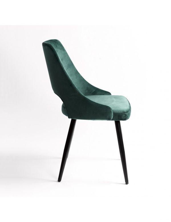 silla comedor asiento verde patas negras
