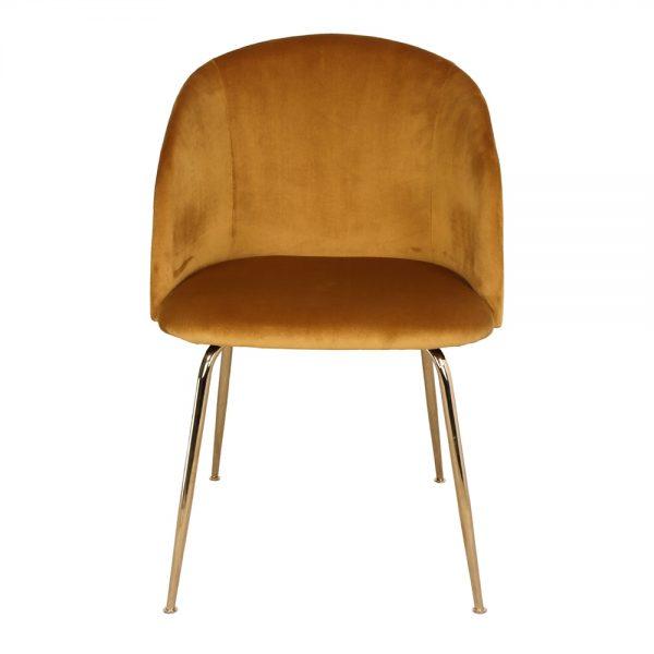 silla comedor terciopelo ocre y patas doradas