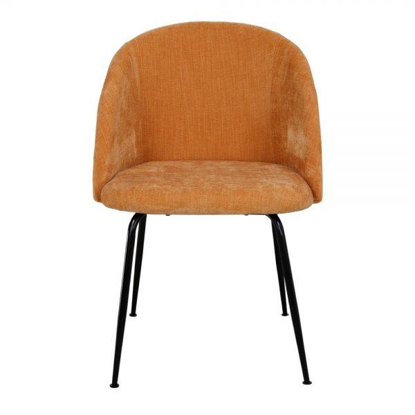 silla tapizada amarillo mostaza patas metal negro