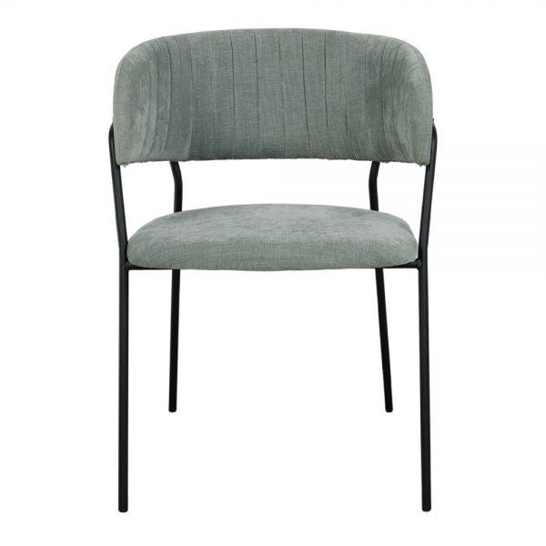 silla tapizada tela verde agua y patas negras