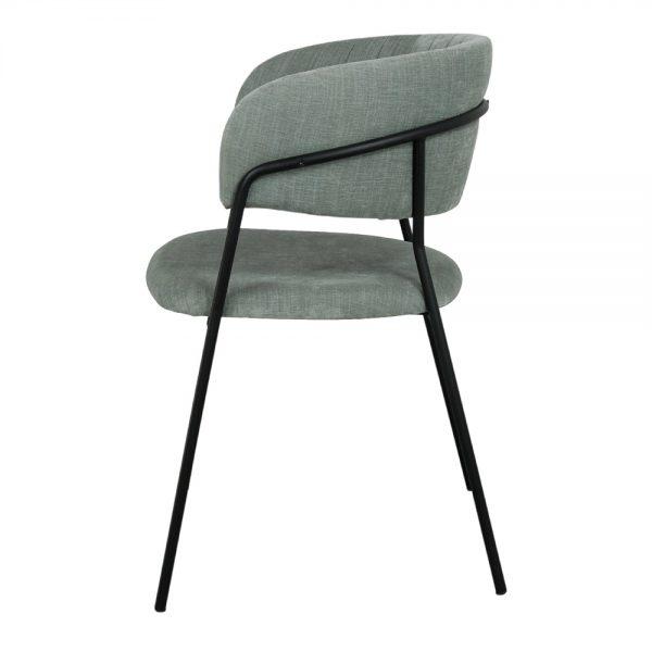 silla asiento verde agua y patas negras
