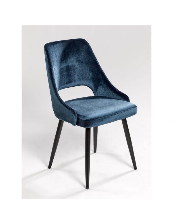 silla comedor tapizada en color azul eléctrico y patas negras