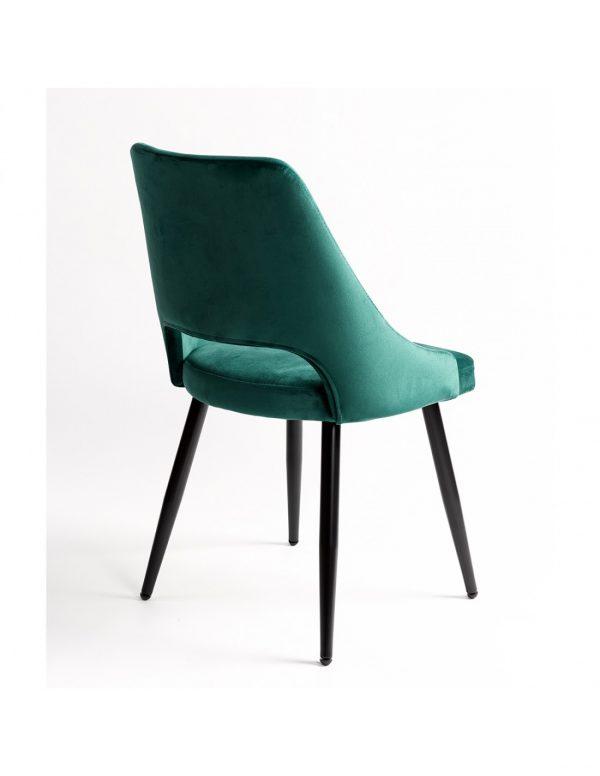 silla con asiento tapizado verde y patas negras