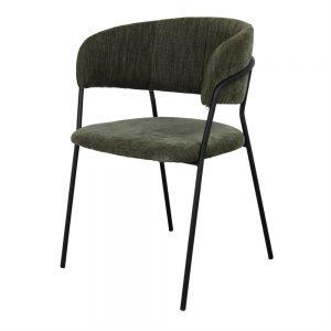 silla tapizada tela verde oscuro y patas negras