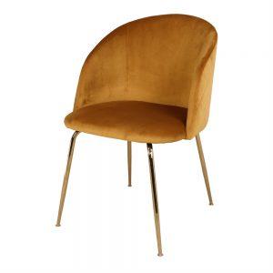 silla comedor tapizada ocre y patas doradas