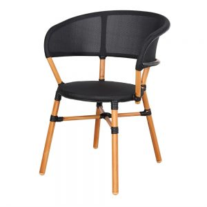 silla terraza bistro asiento negro