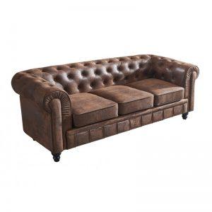 sofa chester marrón 3 plazas